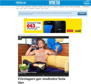 """tidningsutklipp bärgslagsbladet """"företagare ger råd till ungdomar"""""""